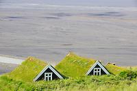 Islande, Skaftafell,  ferme traditionnelle // Iceland, Skaftafell, traditional farm