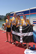 Lucerne, SWITZERLAND,  A Finals, GBR W4X, left,  Katherine GRAINGER, Frances HOUGHTON, Debbie FLOOD and Annie VERNON, Gold medallist,  at the 2007 FISA World Cup, Lucerne, on the Rotsee Lake, 15/07/2007  [Mandatory Credit Peter Spurrier/ Intersport Images] , Rowing Course, Lake Rottsee, Lucerne, SWITZERLAND.