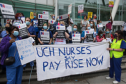 NHS workers assemble outside University College Hospital (UCH) for a protest march to Whitehall as part of a national day of action to mark the 73rd birthday of the National Health Service on 3rd July 2021 in London, United Kingdom. The protesters called for fair pay for NHS workers, for better funding of the NHS and for an end to privatisation measures affecting the NHS.
