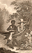 Spanish planter in Puerto Rico (Porto Rico) relaxing in his hammock on his pineapple and orange plantation.  He is smoking a cheroot and his servant/house slave brings him a drink. Lithograph.