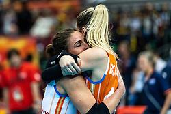 15-10-2018 JPN: World Championship Volleyball Women day 16, Nagoya<br /> Netherlands - USA 3-2 / Myrthe Schoot #9 of Netherlands, Britt Bongaerts #12 of Netherlands