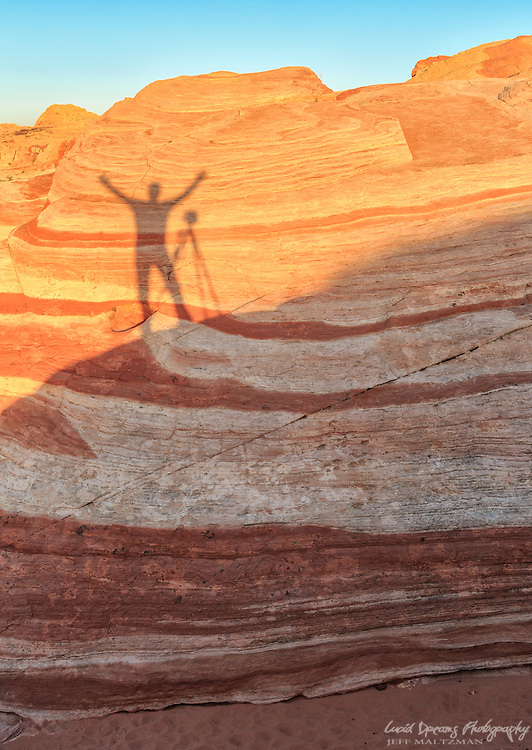 A 'self portrait' in shadow at Valley of Fire State Park, Nevada
