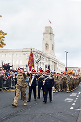 Barnsley turned out in force to welcome home from Operation Herrick 16 The Light Dragoons Englands Northern Cavalry  today (13th November 2012). Led by the Band of Heavy Cavalry and Cambrai around 250 troops supported by military vehicles made their around Barnsley Town centre to the town hall for an official reception, a presentation and inspection...Lieutenant Colonel Sam Plant MBE and the Guidon Party mad up of SQMS Steve Crossland, RQMS(T) Mike Wilkinson and SQMS Jamie Bower from Barnsley along with WO1 David Rae from Hull lead the Light Dragoons Home Comming Parade...13 November 2012.Image © Paul David Drabble