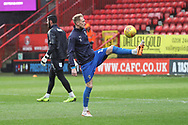 AFC Wimbledon midfielder Mitchell (Mitch) Pinnock (11) warming up during the EFL Sky Bet League 1 match between Charlton Athletic and AFC Wimbledon at The Valley, London, England on 15 December 2018.