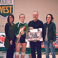 5th year outside hitter, Leah Sywank (3) of the Regina Cougars during the Women's Volleyball home game on Sat Jan 26 at Centre for Kinesiology, Health & Sport. Credit: Arthur Ward/Arthur Images