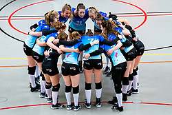 Team Zwolle yell before the first league match between Djopzz Regio Zwolle Volleybal - Laudame Financials VCN on February 27, 2021 in Zwolle.