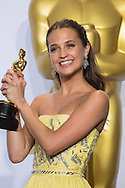 """88th Academy Awards press room.<br /> Alicia Vikander, winner of best actress in a supporting role at the 88th Academy Awards for the film """"The Danish Girl"""""""