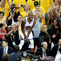 12 June 2017: Golden State Warriors forward Andre Iguodala (9) celebrates during the Golden State Warriors 129-120 victory over the Cleveland Cavaliers, in game 5 of the 2017 NBA Finals, at the Oracle Arena, Oakland, California, USA.