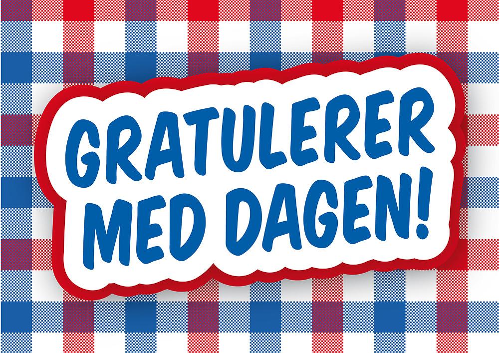 Gratulasjonshilsen i nasjonalfarger; rødt, hvitt og blått.