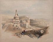 Absalom's Pillar, Valley of Jehoshaphat, Jerusalem 1839 Color lithograph by David Roberts (1796-1864). An engraving reprint by Louis Haghe was published in a the book 'The Holy Land, Syria, Idumea, Arabia, Egypt and Nubia. in 1855 by D. Appleton & Co., 346 & 348 Broadway in New York.