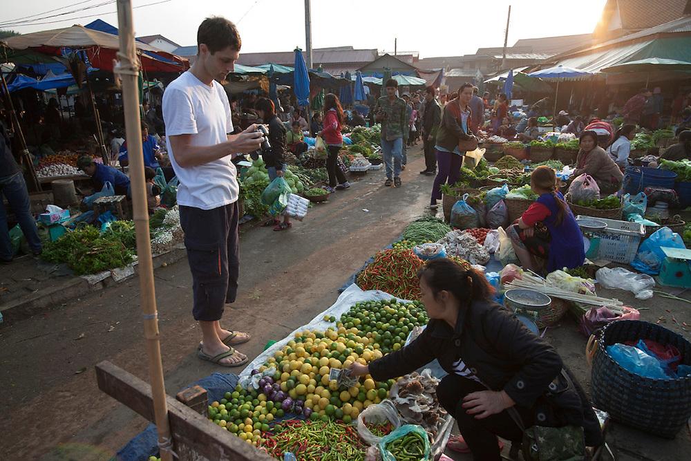 Phousy public market in Ban Saylom Village, just south of Luang Prabang, Laos.
