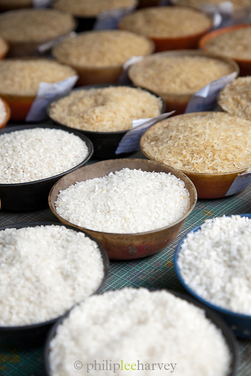 Bowls of rice on display in a supply store in Cochin, Kerala, India