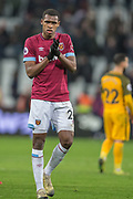 Issa Diop (West Ham) thanking the West Ham FC supporters following the Premier League match between West Ham United and Brighton and Hove Albion at the London Stadium, London, England on 2 January 2019.