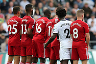 Wilfried Bony of Swansea city (2) stands in-between the Watford wall ahead of a Swansea free-kick. Premier league match, Swansea city v Watford at the Liberty Stadium in Swansea, South Wales on Saturday 23rd September 2017.<br /> pic by  Andrew Orchard, Andrew Orchard sports photography.