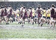 High school cross country race in a heavy rain.