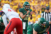 WACO, TX - SEPTEMBER 2:  Anu Solomon #12 of the Baylor Bears calls a play at the line of scrimmage against the Liberty Flames during a football game at McLane Stadium on September 2, 2017 in Waco, Texas.  (Photo by Cooper Neill/Getty Images) *** Local Caption *** Anu Solomon