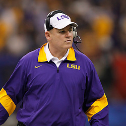 Jan 9, 2012; New Orleans, LA, USA; LSU Tigers head coach Les Miles during the first half of the 2012 BCS National Championship game at the Mercedes-Benz Superdome.  Mandatory Credit: Derick E. Hingle-US PRESSWIRE