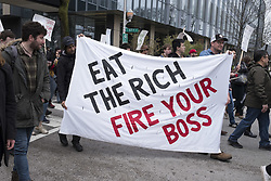 May 1, 2019 - Chicago, Illinois, U.S. - Activits and unions joined together at the Universtiy of Chicago. For a May Day march, condoning the actions of the Universtiy towards employees, student workers and the residents of the neighborhood. (Credit Image: © Rick Majewski/ZUMA Wire)