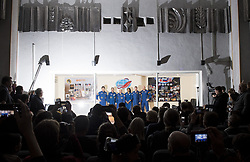 Expedition 54 prime crew members flight engineer Norishige Kanai of Japan Aerospace Exploration Agency (JAXA), left, Soyuz Commander Anton Shkaplerov of Roscosmos, second from left, flight engineer Scott Tingle of NASA, third from left, pose for a picture with backup crew members Jeanette Epps of NASA, third from right, Sergey Prokopev of Roscosmos, second from right, and Alex Gerst of ESA (European Space Agency), right, at the conclusion of a press conference, Saturday, December 16, 2017 at the Cosmonaut Hotel in Baikonur, Kazakhstan. Expedition 54 Soyuz Commander Anton Shkaplerov of Roscosmos, flight engineer Scott Tingle of NASA, and flight engineer Norishige Kanai of Japan Aerospace Exploration Agency (JAXA) are scheduled to launch to the International Space Station aboard the Soyuz spacecraft from the Baikonur Cosmodrome on December 17. Photo by Joel Kowsky / NASA via CNP/ABACAPRESS.COM