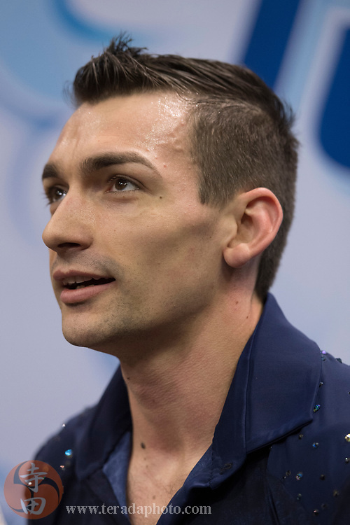 January 4, 2018; San Jose, CA, USA; Christopher Knierim smiles in the kiss and cry after skating in the pairs short program during the 2018 U.S. Figure Skating Championships at SAP Center.