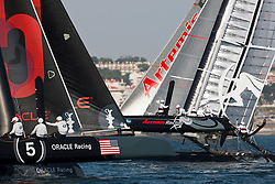 August 10th 2011, AC45 World Series. Third day of Racing. Three fleet races followed by a match race between the two leading boats in the fleet racing.