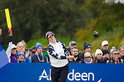 Auchterarder, Scotland, UK. 14 September 2019. Saturday morning Foresomes matches  at 2019 Solheim Cup on Centenary Course at Gleneagles. Pictured; Ally McDonald of Team USA drives on the 7th hole. Iain Masterton/Alamy Live News
