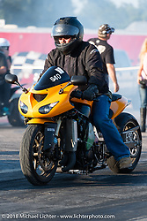 4th Annual Baker Drivetrain All-in to go All-out free run what you brung drag race event at the Sturgis Speedway during the 78th annual Sturgis Motorcycle Rally. Sturgis, SD. USA. Tuesday August 7, 2018. Photography ©2018 Michael Lichter.