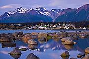 Alaska, Haines, Lutak Inlet, Rock, Landscape, Dawn