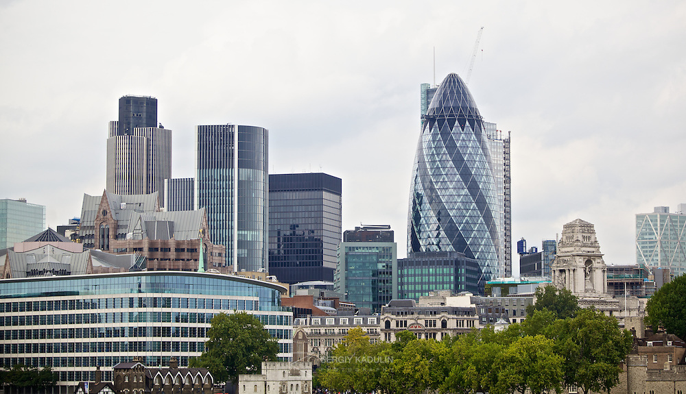 30 St Mary Axe, widely known as 'Gherkin', is the second tallest building in the City of London and sixth tallest in London. The shot includes cityscape of London City and 'Gherkin'.