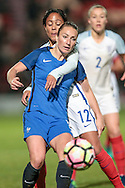Alex Scott (England) marks Gaetane Thiney (France) very closely during the International Friendly match between England Women and France Women at the Keepmoat Stadium, Doncaster, England on 21 October 2016. Photo by Mark P Doherty.