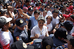 October 18, 2016 - Manila, Philippines - Ferdinand ''Bongbong'' Marcos Jr. and sibling Irene Marcos, children of the late Philippines strongman Ferdinand Marcos attend a rally outside the Supreme Court in Manila, Philippines on Tuesday, October 18, 2016. The Supreme Court extended the status quo ante on the burial of the late strongman Ferdinand Marcos to November 8. (Credit Image: © Richard James Mendoza/NurPhoto via ZUMA Press)