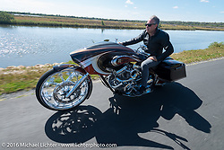 Cory Ness riding his side-by-side twin engine custom in Tomoka State Park during the Daytona Bike Week 75th Anniversary event. FL, USA. Monday March 7, 2016.  Photography ©2016 Michael Lichter.