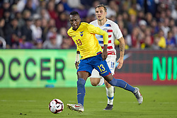 March 21, 2019 - Orlando, FL, U.S. - ORLANDO, FL - MARCH 21: Ecuador defender Beder Caicedo (13) battles with United States forward Jordan Morris (11) to pass the ball in game action during an International friendly match between the United States and Ecuador on March 21, 2019 at Orlando City Stadium in Orlando, FL. (Photo by Robin Alam/Icon Sportswire) (Credit Image: © Robin Alam/Icon SMI via ZUMA Press)