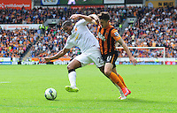 Hull City's Robbie Brady vies for possession with Manchester United's Luis Antonio Valencia<br /> <br /> Photographer Chris Vaughan/CameraSport<br /> <br /> Football - Barclays Premiership - Hull City v Manchester United - Sunday 24th May 2015 - Kingston Communications Stadium - Hull<br /> <br /> © CameraSport - 43 Linden Ave. Countesthorpe. Leicester. England. LE8 5PG - Tel: +44 (0) 116 277 4147 - admin@camerasport.com - www.camerasport.com