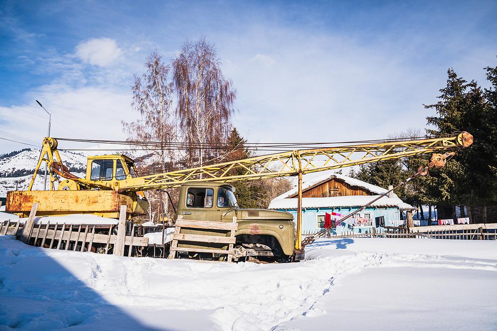 Soviet era crane, Jyrgalan, Kyrgyzstan.