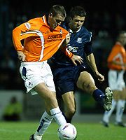 Photo. Chris Ratcliffe<br />Southend v Bristol Rovers. LDV Vans Southern Section. 14/10/2003<br />Paul Tait and David McSweeney of Southend battle for the ball.