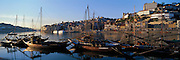 PORTUGAL, DOURO, PORTO city skyline and 'rabelos' barges