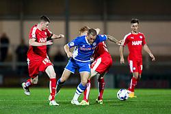 Lewis Alessandra of Rochdale skips past Dion Donoghue of Chesterfield  - Mandatory byline: Matt McNulty/JMP - 07966 386802 - 06/10/2015 - FOOTBALL - Spotland Stadium - Rochdale, England - Rochdale v Chesterfield - Johnstones Paint Trophy