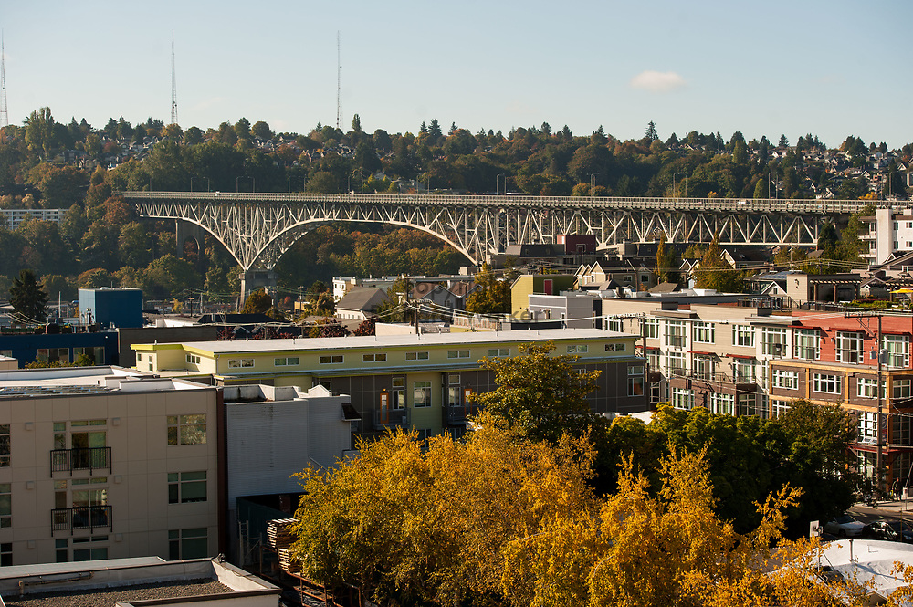 2017 October 16 - Aurora Bridge with Queen Anne in the background as seen from Fremont, Seattle, WA, USA. By Richard Walker