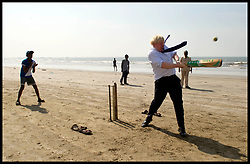 November 29, 2012 - Mumbai, India - Photo filed Saturday 25th June 2016- Profile of Boris Johnson after The Prime Minister David Cameron Resigns London Mayor Boris Johnson plays cricket with children on Juhu beach in Mumbai, on the fifth day of his 6 day tour of India, Thursday November 29, 2012. (Credit Image: © Andrew Parsons/i-Images via ZUMA Wire)