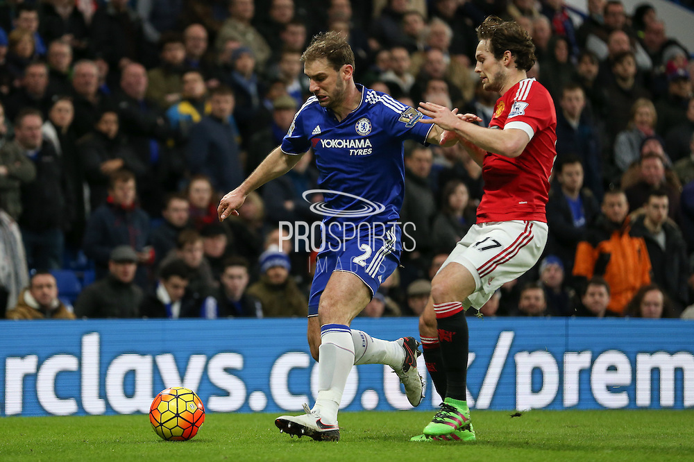 Chelsea's Branislav Ivanovic and Daley Blind of Manchester United during the Barclays Premier League match between Chelsea and Manchester United at Stamford Bridge, London, England on 7 February 2016. Photo by Ellie Hoad.