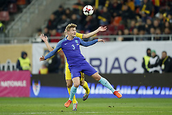 (L-R) George Tucudean of Romania, Matthijs de Ligt of Holland during the friendly match between Romania and The Netherlands on November 14, 2017 at Arena National in Bucharest, Romania