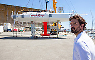 Launch of the Lift 40 ( Class 40 ) Black Mamba for the skipper Yoann Richomme before the Route du Rhum 2018 built at Gepeto Composite and designed by Marc Lombard Yacht Design Group, Lorient Keroman Submarine Base, France, on March 25, 2018 - Photo Christophe Launay / ProSportsImages / DPPI
