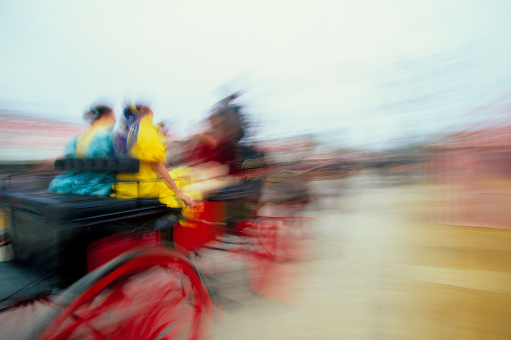 Europe, Spain, Andalusia, Sevilla, horse-drawn carriage in motion