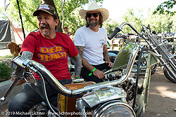 Good friends Slinging Ink tattoo artist Oliver Peck and Chemical Candy's Scott Hoepker (aka Chemical Candy Randy) at the Born-Free Vintage Motorcycle show at Oak Canyon Ranch, Silverado, CA, USA. Sunday, June 23, 2019. Photography ©2019 Michael Lichter.