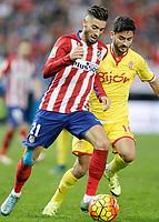 Atletico de Madrid's Yannick Ferreira Carrasco (l) and Sporting de Gijon's Nacho Cases during La Liga match. November 8,2015. (ALTERPHOTOS/Acero)