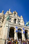 Crowds at Sacre-Coeur Basilica, Montmartre, Paris, France