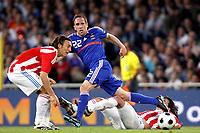 Fotball<br /> Frankrike v Paraguay<br /> Foto: Dppi/Digitalsport<br /> NORWAY ONLY<br /> <br /> FOOTBALL - FRIENDLY GAME 2007/2008 - FRANCE v PARAGUAY - 31/05/2008 - FRANCK RIBERY (FRA) / EDGAR BARRETO / AURELIANO TORRES (PAR)