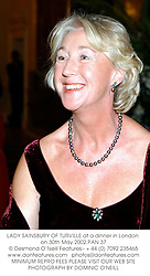 LADY SAINSBURY OF TURVILLE at a dinner in London on 30th May 2002.PAN 37