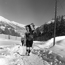 DICKY CRAIG carrying a skeleton at The Cresta Run, St.Moritz, Switzerland in January 1960.